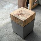 Beton furniture - Stool, Tamarind wood
